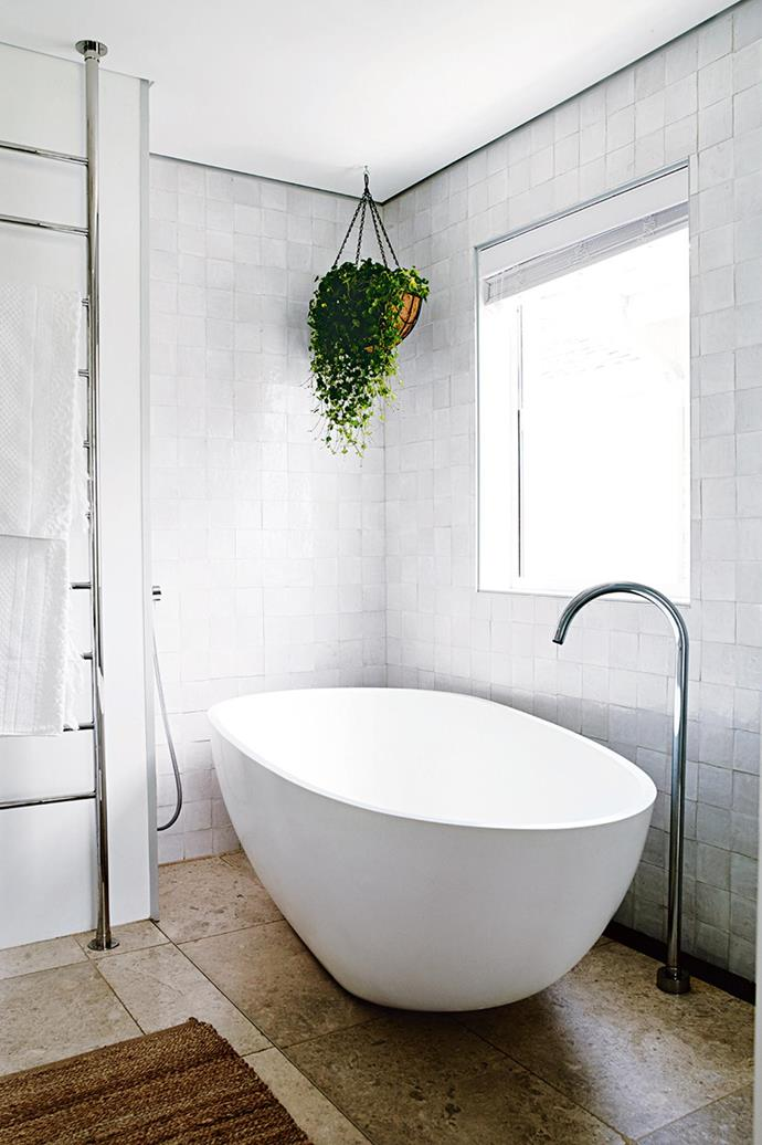 "A [hanging indoor plant](https://www.homestolove.com.au/the-best-indoor-hanging-plants-for-australian-homes-5001|target=""_blank"") will always be a welcome addition to any bathroom."