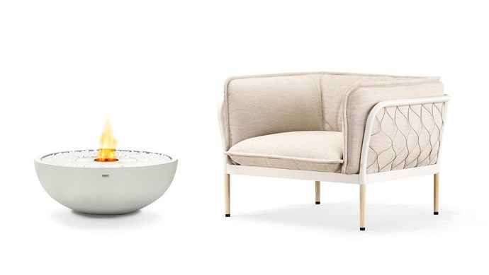 **Neutral territory** Muted shades meet shapely lines in this elegant combo EcoSmart Fire 'MIX 850' ethanol burner fire pit, $1573, [Fire Pits Direct](https://www.firepitsdirect.com.au/). 'Trace' armchair, $4970, [Tait](https://madebytait.com.au/).