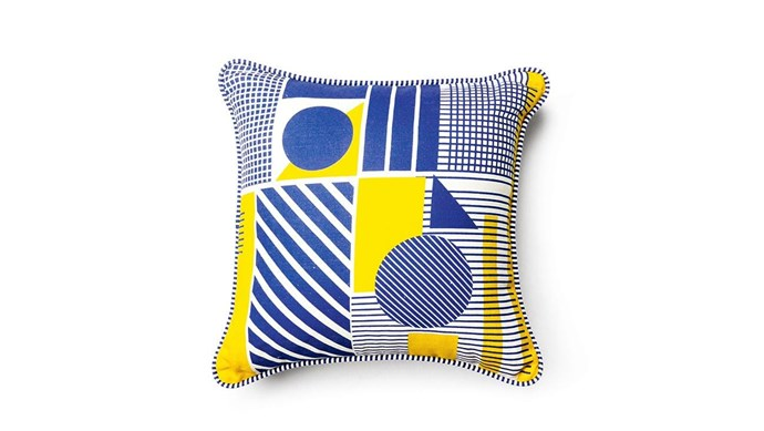 Everingham & Watson 'Geometric Print' cushion, $75, [Stitch Piece Loop](https://www.stitchpieceloop.com.au/).