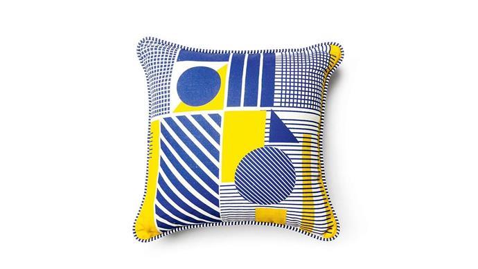 Everingham & Watson 'Geometric Print' cushion, $75, [Stitch Piece Loop](https://www.stitchpieceloop.com.au/).
