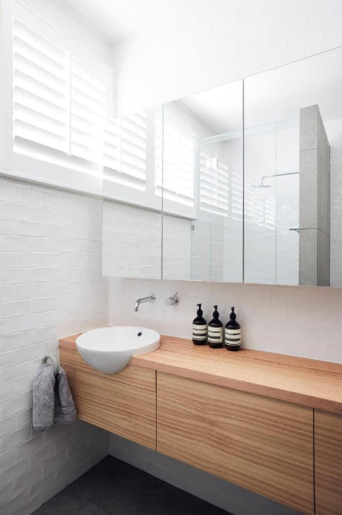 The bathroom kept to the brief for a space with great ventilation, access to natural light and a welcoming use of natural materials.