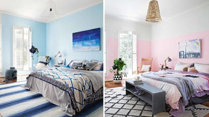 Find your perfect bedroom match! The brilliant thing about paint is that you can totally change a space in a matter of moments – just throw in some complementary accessories and you're in business. Here are two bedroom palettes. Will you swipe left or swipe right? Stylist: Julia Green, Photographer: Armelle Habib