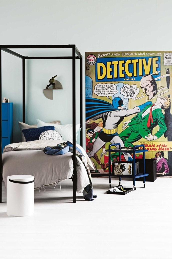 Make your little boy's bedroom truly super with bed-size print like this one Photographer: Sam McAdam-Cooper, Stylist: Vanessa Colyer Tay