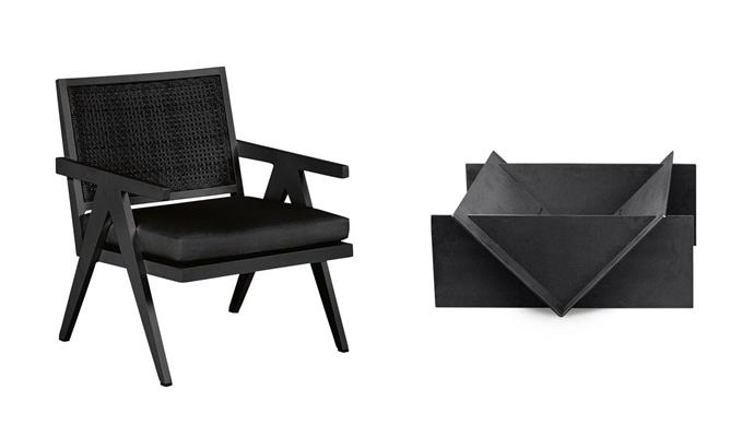 **Black magic** Bold shapes and dark matt tones create a moody, sophisticated look 'St Vincent' outdoor lounge chair, $995, [Coco Republic](http://www.cocorepublic.com.au/). 'Stahl' fire pit, $1100, [Stahl Firepit](http://www.stahlfirepit.com.au/).