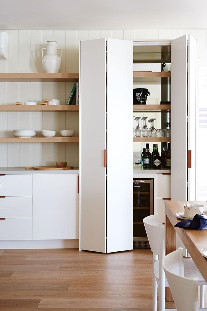 "Joinery in a nook means no wasted space. Create a pantry or a wine bar, like this one by [Bloom Interior Design & Decoration](http://bloominteriordesign.com.au|target=""_blank""