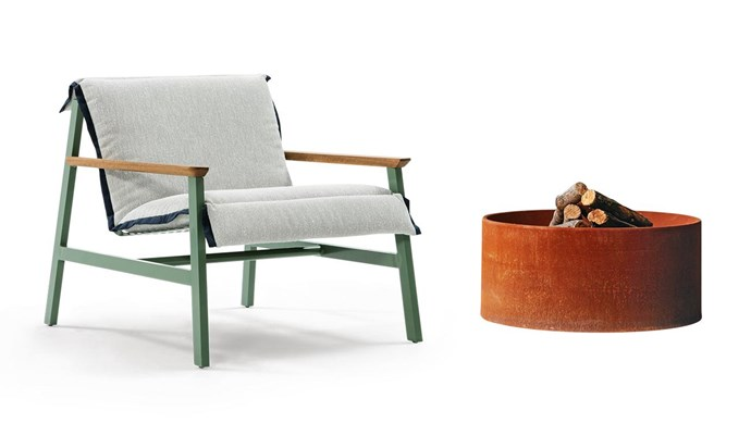 **Raw and refined** Combine aged finishes with sleek modern forms for an industrial vibe. 'Mac' armchair, from $2691, [Jardan](https://www.jardan.com.au/). LifeSpaceJourney 'Float' fire pit, $1650, [Oblica](https://oblica.com.au/).