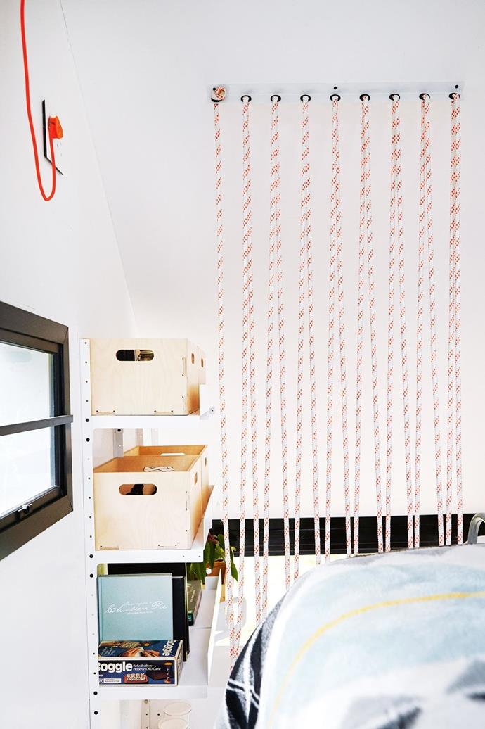 With the limited floor space, storage solutions went vertical. Dokter And Misses, the design company enlisted to manage the interior design, installed a plywood box system that could be easily moved between spaces using universal brackets. [Read the full story here](http://www.insideout.com.au/renovations/house/little-beauty-this-eclectic-home-takes-up-just-17-square-metres/news-story/f501fa9a8bf23f2e22921d1acc61e2f1). _Photography by Greg Cox_ Photographer: Greg Cox