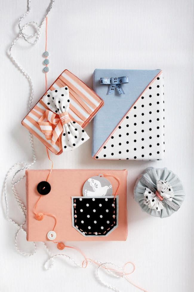 Patchwork your gift wrap by sewing two pieces of fabric together, then use the whole piece as your wrapping paper. Dress the seam with a pretty trim Photographer: Guy Bailey