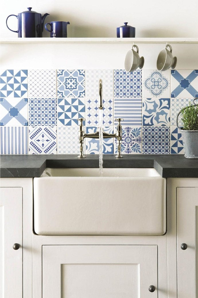 Pattern your kitchen splashback with a mix of different patterned tiles of the same colour. 'Blue Tapestry' tile collection, [Original Style](https://www.originalstyle.com/tiles/product?id=8512A&id=8512A).