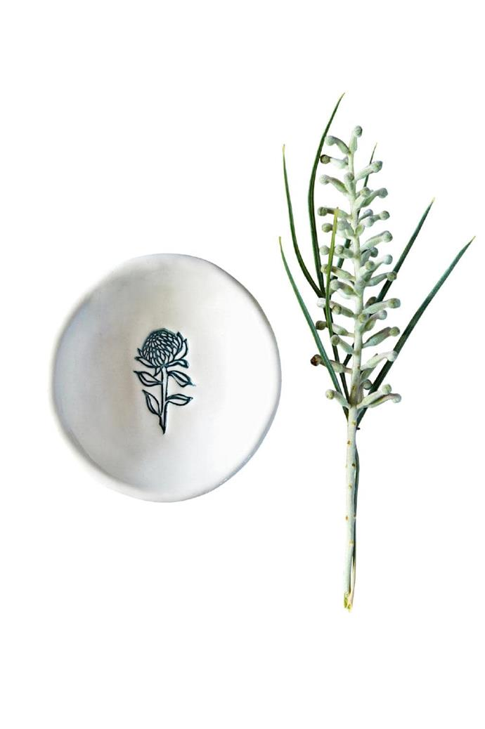 "Based in the Sunshine Coast hinterland, Kim Wallace's ceramics are inspired by nature and made from natural Australian stoneware and porcelain clay. As well as donating profits from sales in January, Kim Wallace is donating a selection of ceramics to those who lost their homes and possessions in the bushfires.  <br><br> Bush Prints Waratah' tiny bowl, $16, [Kim Wallace Ceramics](https://kwceramics.com.au/|target=""_blank""