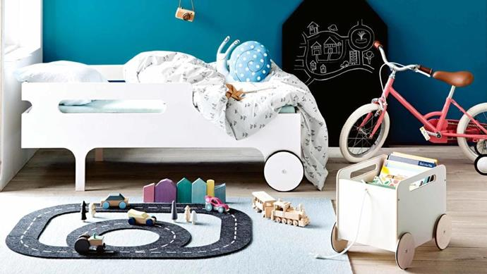 Training wheels take a stylish spin in this toddler-ready space Photographer: Sam McAdam-Cooper, Stylist: Jessica Hanson