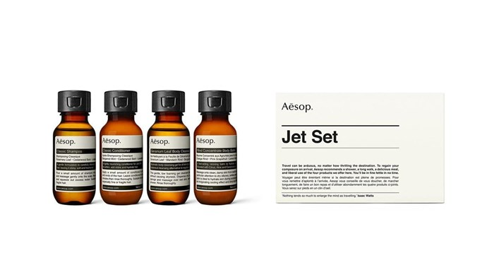 "Aesop 'Jet Set' kit, $41, from [Myer](https://fave.co/2DfXoJH|target=""_blank""
