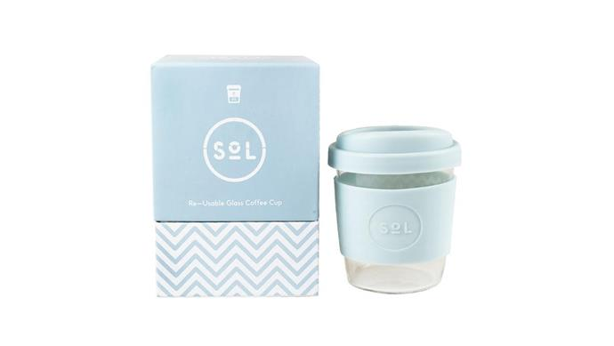 8oz hand-blown glass reusable cup in Cool Cyan, $27.99, [Sol Cups](https://solcups.com/).