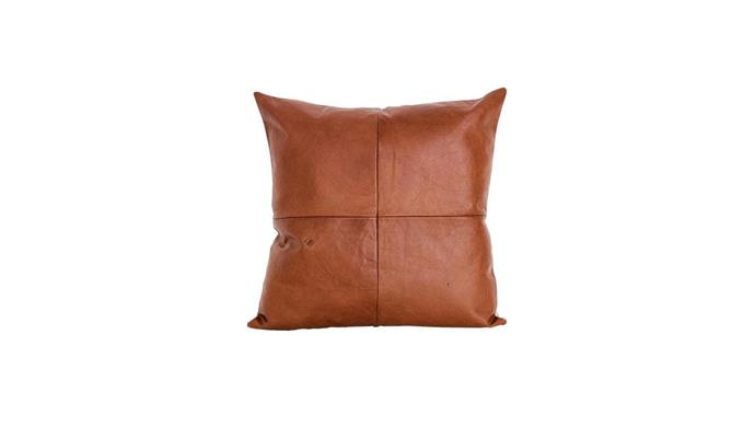 'Classic' panelled leather cushion cover, from $160, [Mr And Mrs White](https://www.mrandmrswhite.net/).