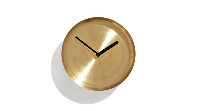 **Clockwork** Telling the time becomes a stylish affair with the sleek brass 'Radial' clock, $75, from [Design By Them](https://www.designbythem.com/).
