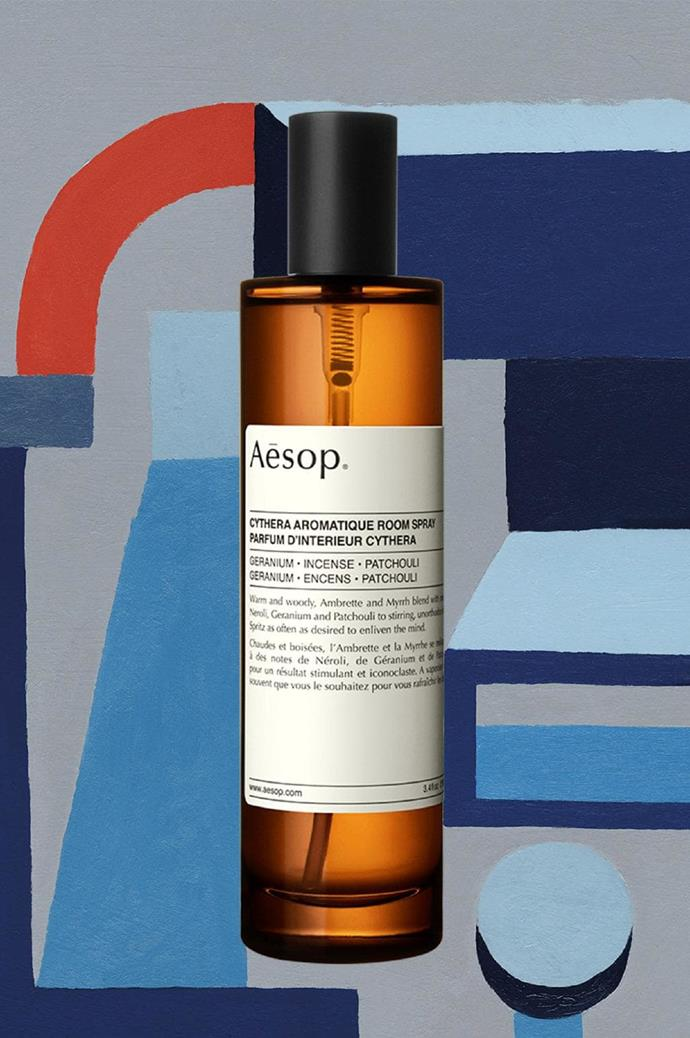 Cythera: Inspired by its namesake island, the [Cythera aromatique room spray](https://www.aesop.com/au/cythera-aromatique-room-spray.html) uses a scent that is warm and woody, and punctuated by notes of myrrh, neroli and geranium.