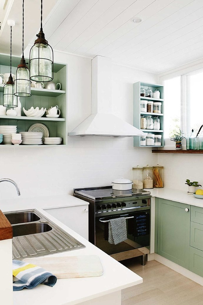 Give your kitchen a new lease on life by painting cabinets and open shelves in a contrasting colour. In this kitchen the soft green tone and a high dose of white keeps the look fresh - perfect for a beachside home. Try: 'Aquaenamel' paint in Tiamo, $47.45/1L, [Dulux](http://www.dulux.com.au) Stylist: Nicole Valentine Don, Photographer: Prue Ruscoe