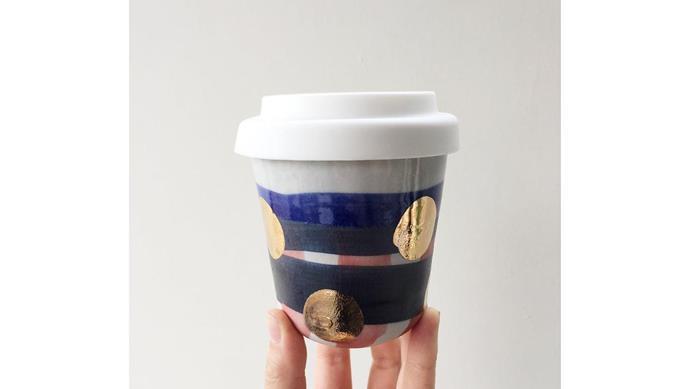 'Travelling Treasure' cup in Blue Gold Spot, $40, [Bridget Bodenham](https://bridgetbodenhamceramics.bigcartel.com/).
