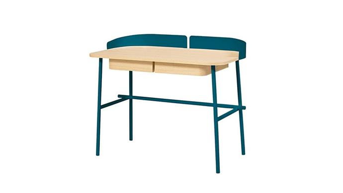 Under-desk storage hides clutter, while a pop of colour adds a sense of fun to their space. Hartô 'Victor' desk, $1380, [Clickon Furniture](https://www.clickonfurniture.com.au/).