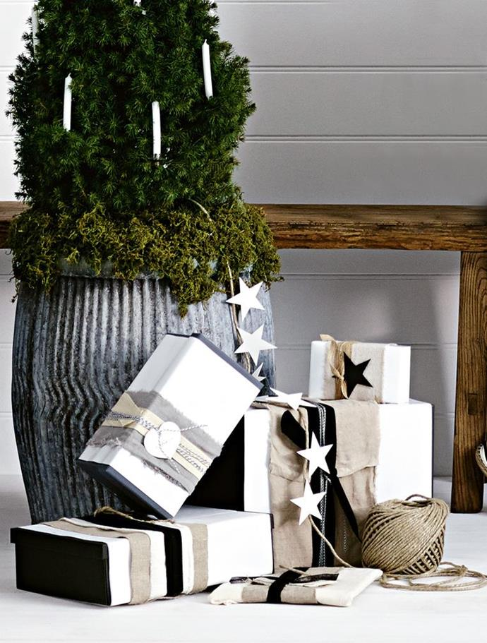 This wrapping is all about an organic look using material off-cuts and raw edges Photographer: Nigel Lough