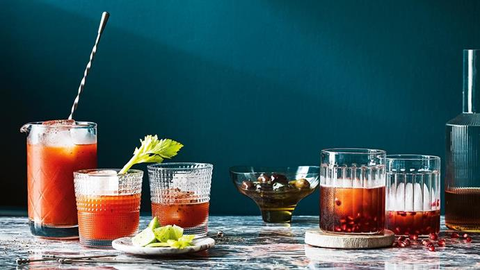 **Chilli jam bloody mary and pomegranate rum punch** [Get the recipe here](http://www.insideout.com.au/home-style/new-traditional/4-cocktail-recipes-to-add-to-your-entertaining-repertoire/news-story/731d5bde95e2d6633397f24601ca80d6). **Products** 'Seamless' Japanese mixing glass, $37.35, and 'Teardrop' matt bar spoon, $25.25, both Bargeek, bargeek.com.au. Noritake 'IVV Speedy' tumblers, $84/set of 6, Temple & Webster, templeandwebster.com.au. Stainless-steel cocktail picks, $22/assorted set of 6, Williams-Sonoma, williams-sonoma.com.au. 'Baby Blanc' flared dish, $34.95, Marble Basics, marblebasics.com.au. Stainless-steel cocktail picks, Bargeek. 'Compot' yellow glass bowl, $75, The DEA Store. Fferrone 'Bessho' tumblers, $195/pair, Hub Furniture, hubfurniture.com.au. Petrified wood coaster, $79/set of 4, West Elm. Ferm Living 'Ripple' carafe, $59, Designstuff, designstuff.com.au. 'Pink Jaguar' marble, POA, Euro Natural Stone, euronaturalstone.com. Stylist: Jono Fleming and David Morgan, Photographer: Jeremy Simons