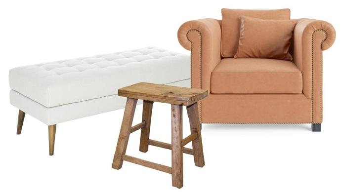 3 great finds: 1.Low recycled elm stool, $189, [Maison Est.](http://maisonest.com.au/) 2.'Jamie' leather armchair, $2299, [Brosa](https://www.brosa.com.au/). 3.Dame' ottoman in Austria Shell fabric, $299, [Freedom](https://www.freedom.com.au/).