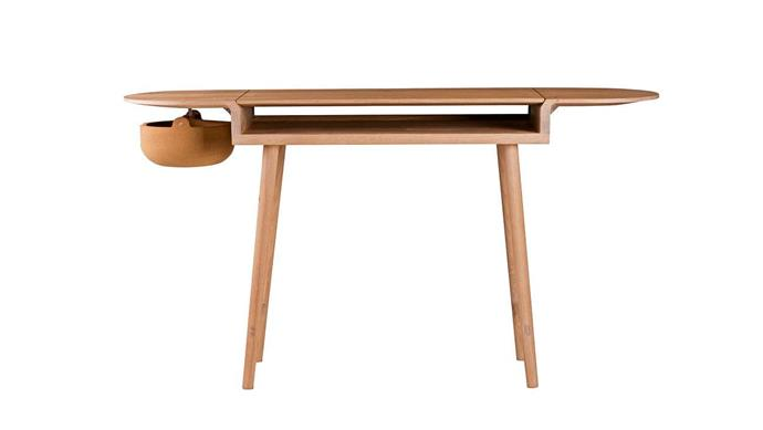 """Fold the top down to hide away paperwork and keep USB sticks and cables handy in the cork bowl. Studioilse '454 Companions' writing desk, from $4790, [Spence & Lyda](https://www.spenceandlyda.com.au/