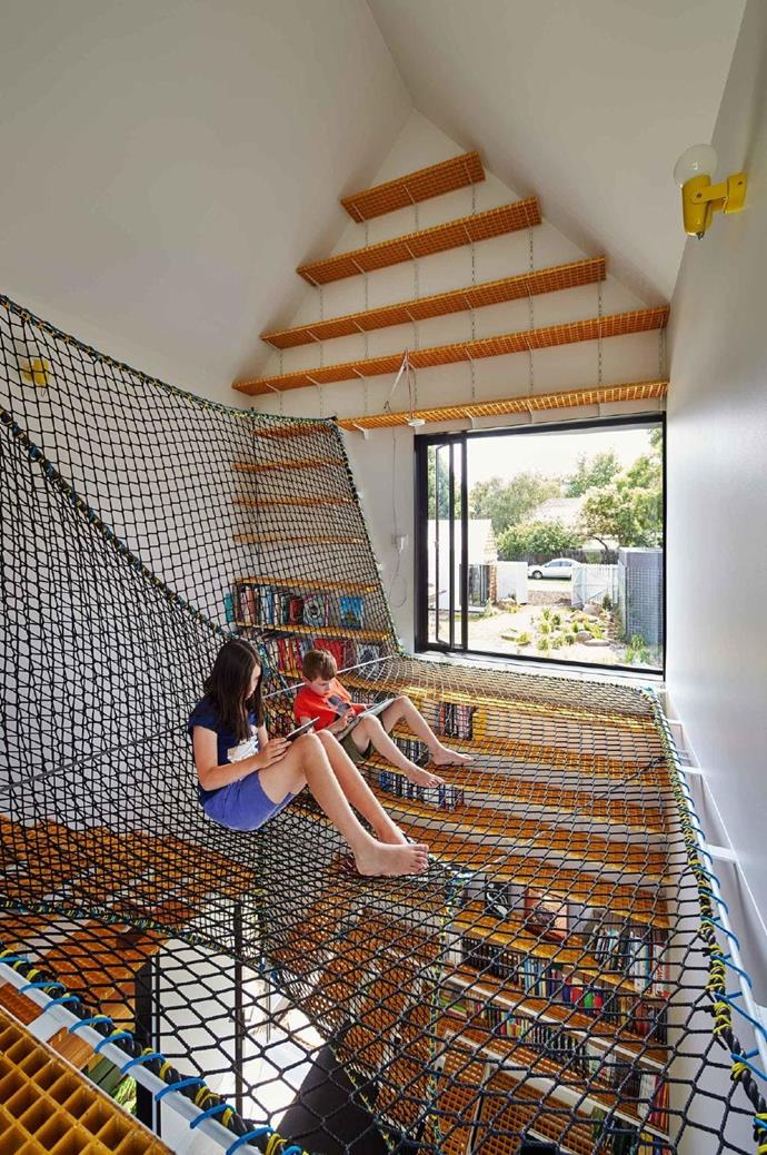 The hanging net offers the boys a space to read and reflect, with views out to the garden and the street.