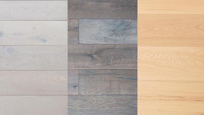 "**Engineered timber** (left to right): *'The Architect Collection' engineered flooring in Danish White, from $85/sqm, *[Royal Oak Floors](http://www.royaloakfloors.com.au/|target=""_blank""). *'The Artisan Collection' engineered flooring in Peppercorn Grey, from $129/sqm, *[Royal Oak Floors](http://www.royaloakfloors.com.au/