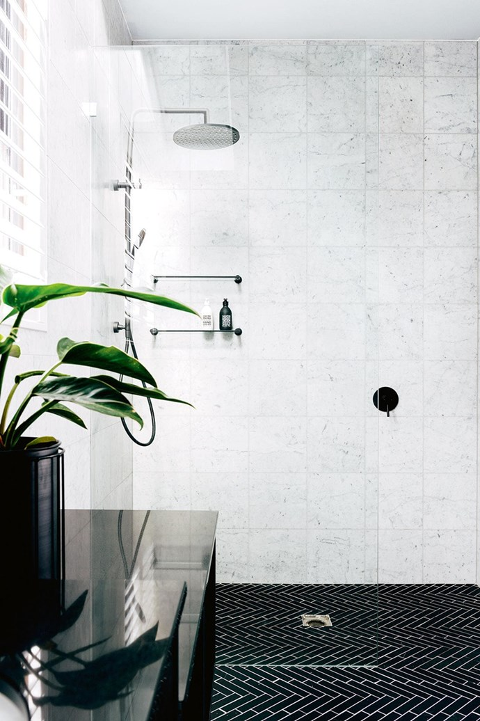 """A simple colour palette allows the [feature bathroom tiles](https://www.homestolove.com.au/bathroom-tile-ideas-5447
