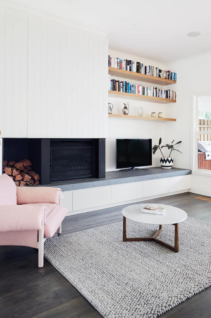 A neutral colour palette is brought to life with pretty pastels in the living room.