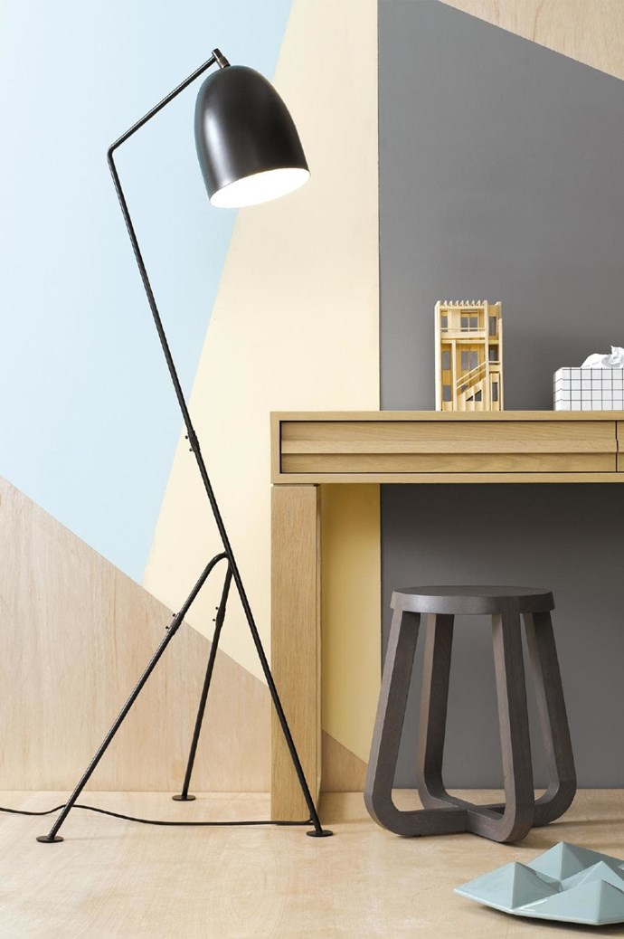 Keep the creativity flowing in your home office by adding a bright geometric wall pattern. Complete the look with a 'Tripod 1 lamp' floor lamp, $189, [Beacon Lighting](http://www.beaconlighting.com.au/tripod-1-light-floor-lamp-in-black-1.html).