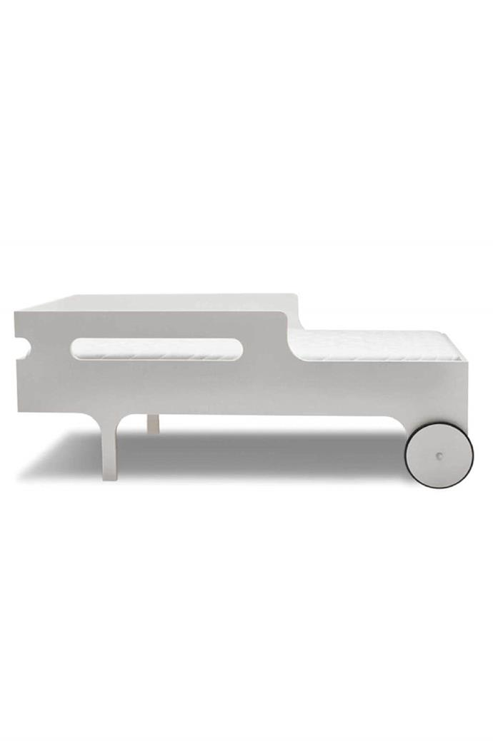 Fun yet functional, this curvy number is a great first proper bed for your growing toddler, as well as being a cool feature. 'R' toddler bed in Whitewash, €595, and toddler mattress, €103, [Rafa-kids](rafa-kids.com)