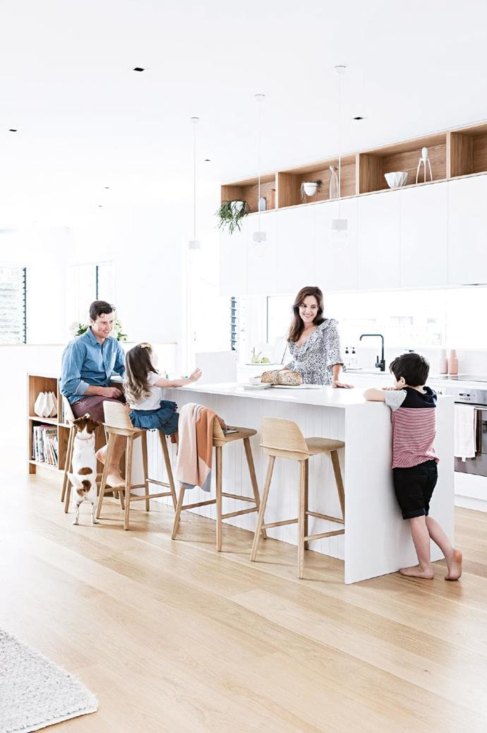 Kitchen: Adrian and Brooke hang out at the island bench with Willow and Morgan. The combination of walls and handleless cabinetry in [Dulux](https://www.dulux.com.au/) Lexicon Half with oak details and flooring is relaxed yet polished. [Caesarstone](http://www.caesarstone.com.au/) benchtops in Fresh Concrete have a hard-wearing matte finish Stylist: Kerrie-Ann Jones, Photographer: Maree Homer
