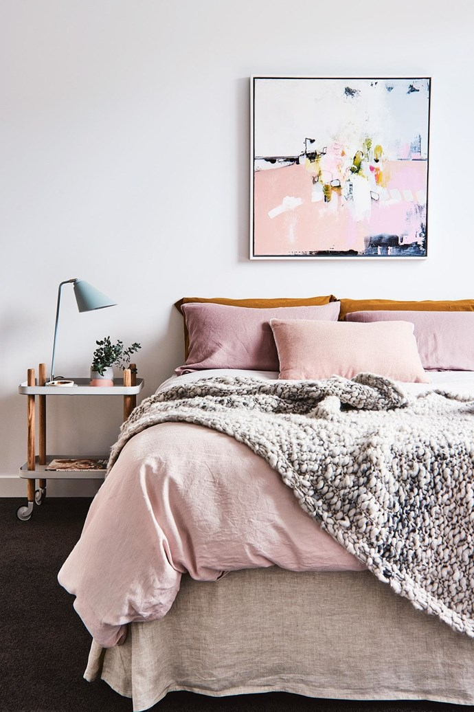 "**On the side** Think outside the box when it comes to choosing bedside tables. Any low, flat surface will do the job, be it a stool, a chair or even a wheeled trolley. *Design: [Aimee Turulli](http://archerinteriors.com.au/|target=""_blank""