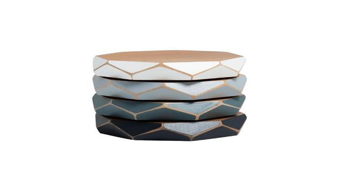 "Gwyneth Hulse Design 'Faceted' wooden coasters in Monochromatic, $44.75/assorted set of 4, Etsy, [gwynethhulsedesign.etsy.com](https://fave.co/2B9KQ3Z|target=""_blank""