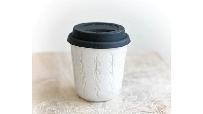 'Vines' stoneware reusable cup, $45, [Mudhavi](https://www.etsy.com/au/shop/Mudhavi?ref=shop_sugg).