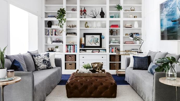 In this lounge space, a pair of grey sofas with removable covers is a family-friendly choice. Cushions from Darren's new range for [Myer](https://www.myer.com.au/) bring texture and pattern to the fore.