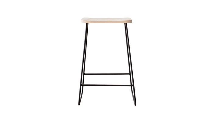 'Industrial' stool with oak seat, $295, [Weylandts](https://www.weylandts.com.au/).