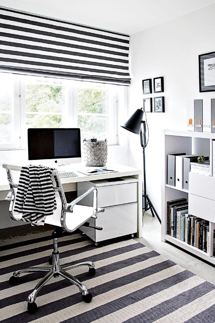 **Pattern play** Achieve a minimalist feel in your study that is not sterile and boring by incorporating a simple graphic print, like stripes.