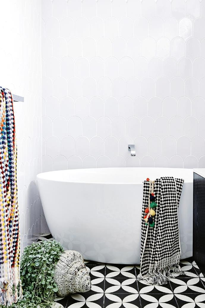 <strong>Pattern pretty</strong>. One strong feature element is all it takes to make your bathroom stand out from the crowd. If you choose patterned floor tiles as your hero, go with block colours elsewhere. Encaustic (cement) tiles have a soft handmade look and develop a beautiful patina. Use a specialist tiler to seal them correctly Photographer: Derek Swalwell, Stylist: Rachel Vigor