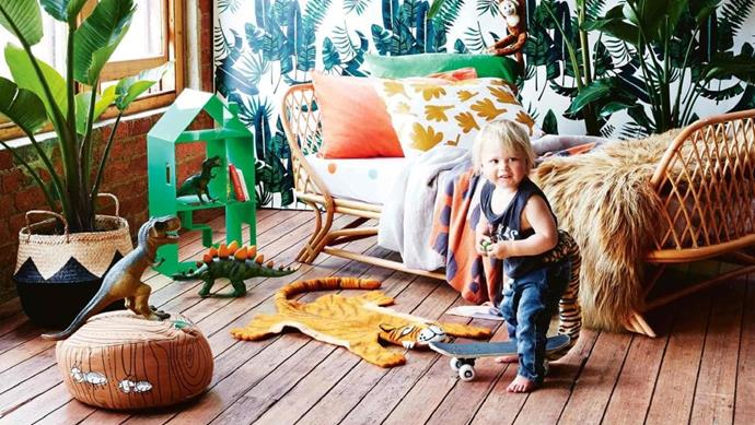 Bold botanical prints, natural textures and plenty of pattern make up this tropical-themed space for an adventurous type. Stylist: Heather Nette King, Photographer: Armelle Habib