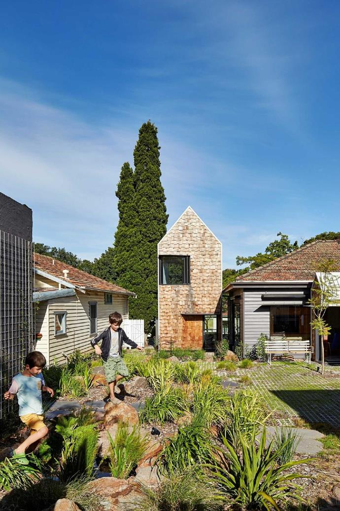 Keen to steer clear of a fenced in look and feel, the design team added a vegie patch in the front garden in the hope that neighbours will pick what they want or do a bit of gardening in their spare time. The garden is also used as a shortcut for some neighbours.
