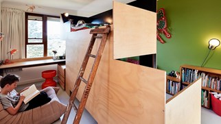 "Created from a mix of formply and plywood, this project, a collaboration with Tanguy le Moing/Supermobilet and  <a title=""MAKE"" href=""http://www.makearchitecture.com.au/"">MAKE</a>, was an economical way of creating two bedrooms from one."