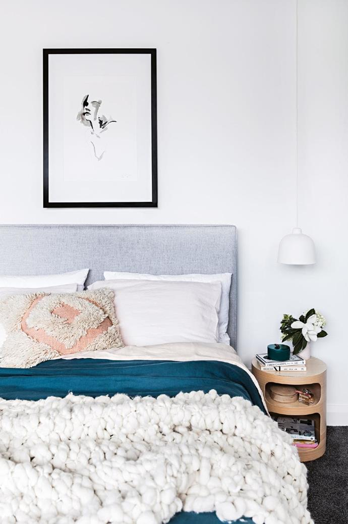 Master bedroom: A bespoke bedhead from [BedNest](http://www.bednest.com.au/) is matched by a framed print from [Apache Rose](https://apacherosestore.com/). The bed is topped with [Cultiver](https://cultiver.com/) linen sheets, a [Langdon Ltd](https://langdonltd.com.au/) cushion and a throw from [Tribe & Co Living](https://tribeandcoliving.com/) Stylist: Kerrie-Ann Jones, Photographer: Maree Homer