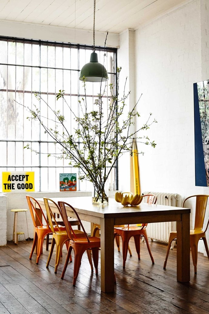This [Mark Tuckey](http://www.marktuckey.com.au/) table and [Thonet](http://www.thonet.com.au/) chairs paired together enhances the industrial vibe of the home Stylist: Heather Nette King, Photographer: Derek Swalwell