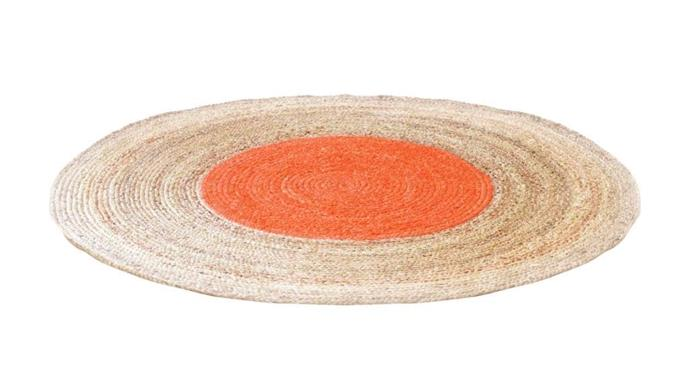 A jute rug is a hardwearing choice for a kid's space, adding a tactile touch for playtime. The bright orange dot at the centre brings a fun punch of colour that ties in beautifully with patterned bedlinen. 'Demi' jute dot rug, $699/180cm diameter, [Sage And Clare](http://sageandclare.com/)