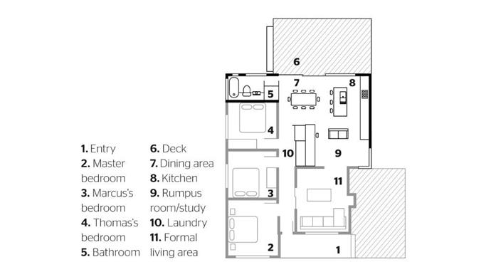 Floorplan of the renovated home. Want more? Read the full story [here](http://www.insideout.com.au/renovations/house/before-after-a-home-renovation-full-or-surprises)