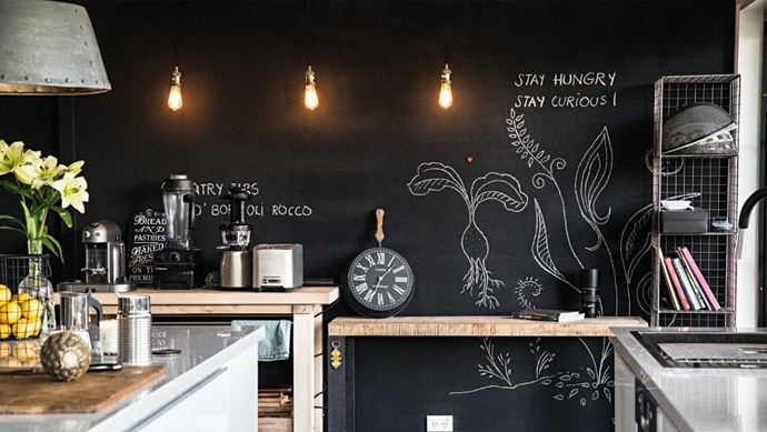 A chalkboard painted wall comes in handy for jotting down shopping list items or displaying your own chalk artwork. Don't want to commit to a whole wall? Paint just a panty door or a rectangle section on a wall instead. Try: Dulux Design 500ml Black Chalkboard Paint, $25.55, [Bunnings Warehouse](http://www.bunnings.com.au/dulux-design-500ml-black-chalkboard-paint_p1370896) Photographer: Sneh Roy