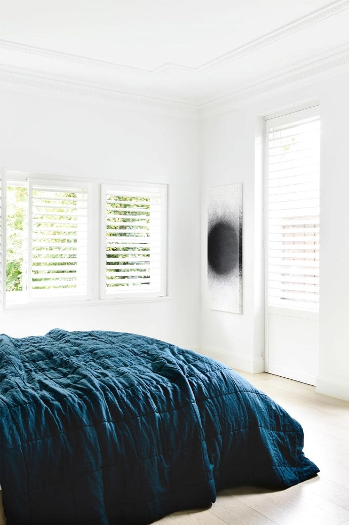**Master bedroom** A leafy outlook makes for a peaceful sleeping zone Photographer: Derek Swalwell, Stylist: Rachel Vigor